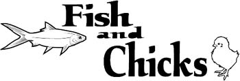 'Fish and Chicks' boat lettering graphic vinyl decal personalized on line. GA01V013