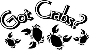 'Got Crabs?' boat lettering vinyl graphic decal. Customize on line. GA01V020