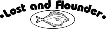 'Lost And Flounder' boat lettering vinyl sticker customized on line. GA01V031