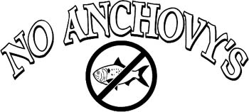 'No Anchovy's' boat lettering vinyl graphic sticker personalized on line. GA01V036
