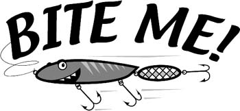 'Bite Me' boat lettering vinyl graphic sticker customized on line. GA01V068
