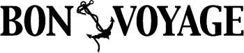 'Bon Voyage' boat lettering graphic vinyl sticker customized on line. GA01V070