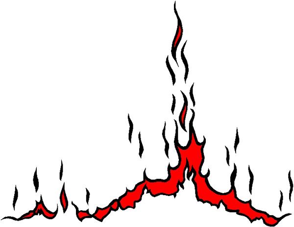 Bedazzling flames stripe vinyl decal 3220