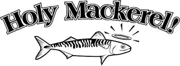 'Holy Mackerel' boat lettering vinyl graphic sticker customized on line. GA01V024