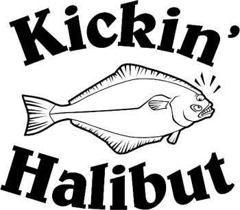'Kickin' Halibut' boat lettering graphic vinyl decal. Personalize on line. GA01V025