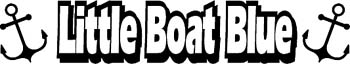'Little Boat Blue' boat lettering graphic vinyl sticker. Customize on line. GA01V030