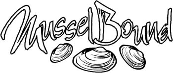 'Mussel Bound' boat lettering vinyl decal personalized on line. GA01V034