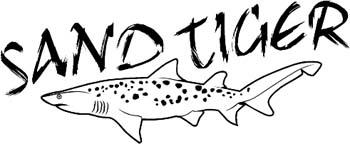 'Sand Tiger' boat lettering vinyl decal. Personalize on line. GA01V048