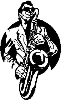 Man Playing Saxophone vinyl decal customized on line.