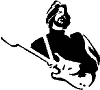 Guitarist vinyl decal customized on line.