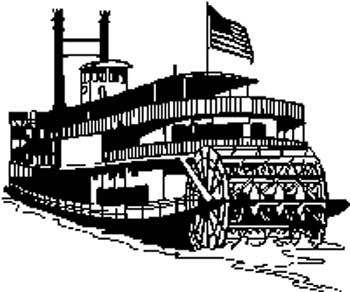 Beautiful riverboat with paddle vinyl decal. Customize on line.