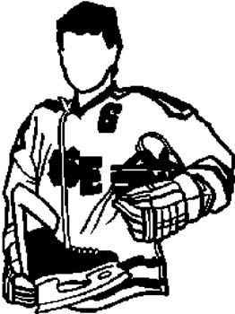149    Man in a hockey uniform vinyl decal customized online.