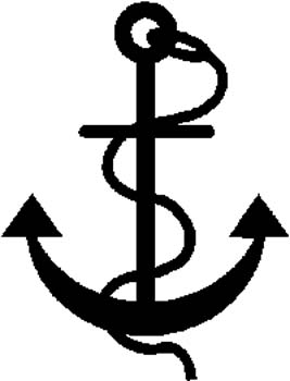 15 A boat anchor silhouette vinyl decal customized online.