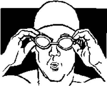 151    Swimmer with goggles vinyl decal customized online.