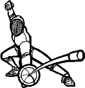 154 Fencer in action vinyl decal customized online.