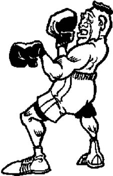 160 Toon man boxing vinyl decal customized online.