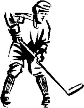 172     Hockey player action vinyl decal customized online.