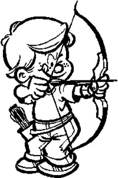 178   Little boy with bow and arrow vinyl decal customized online.