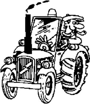 2  Toon man on a tractor vinyl decal customized online.