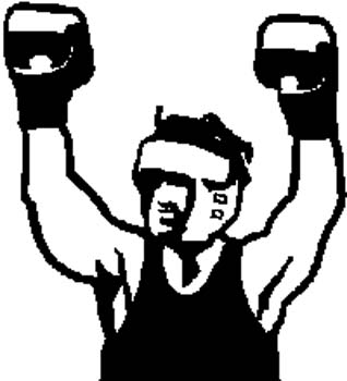 207 Boxer with arms up in victory vinyl decal customized online.