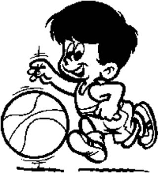 236 Little boy dribbling basketball vinyl decal customized online.