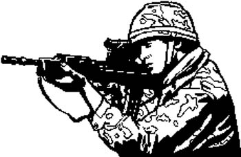 282 Camouflaged Soldier with rifle vinyl decal. Customize on line.