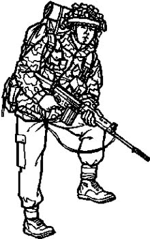 284 Military man in combat gear vinyl decal customized online.