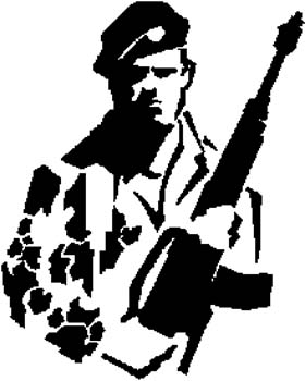 291 Military Man with Rifle vinyl decal. Customize on line. military