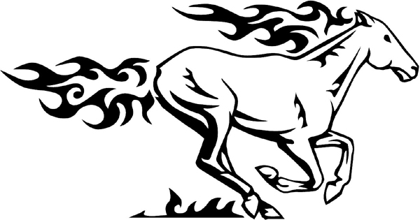 Flaming Mustang Mascot vinyl graphic decal customized on line. animal-flames-0004b