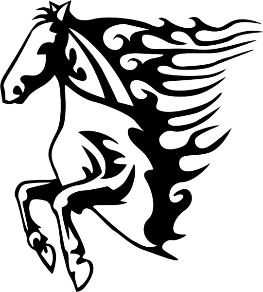 Flaming Mustang Mascot vinyl graphic sports decal. Customize on line. animal-flames-0005b