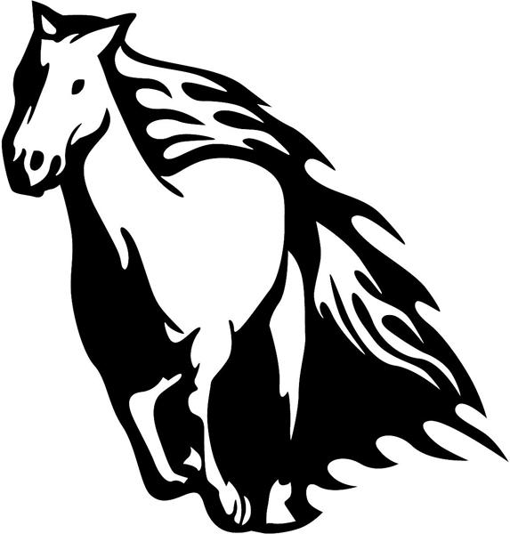 Flaming Horse vinyl sticker. Customize on line. animal-flames-0006b