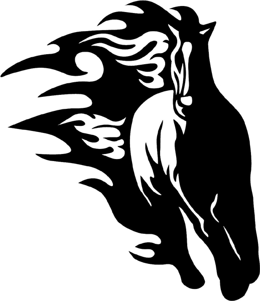 Flaming Mustang Mascot graphic vinyl decal customized on line. animal-flames-0007b