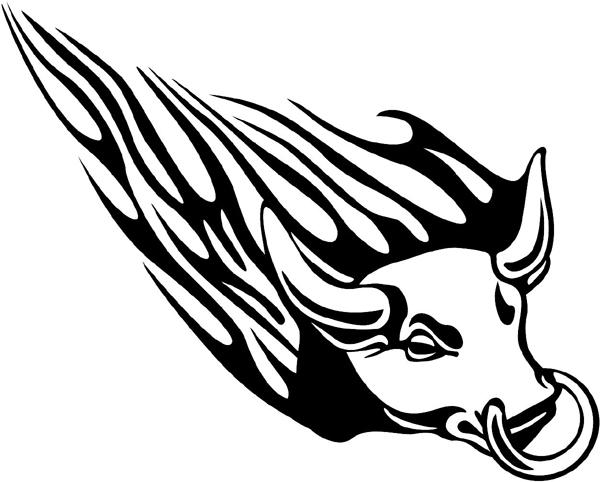 Flaming Bull's Head Mascot sticker. Customize on line. animal-flames-0010b