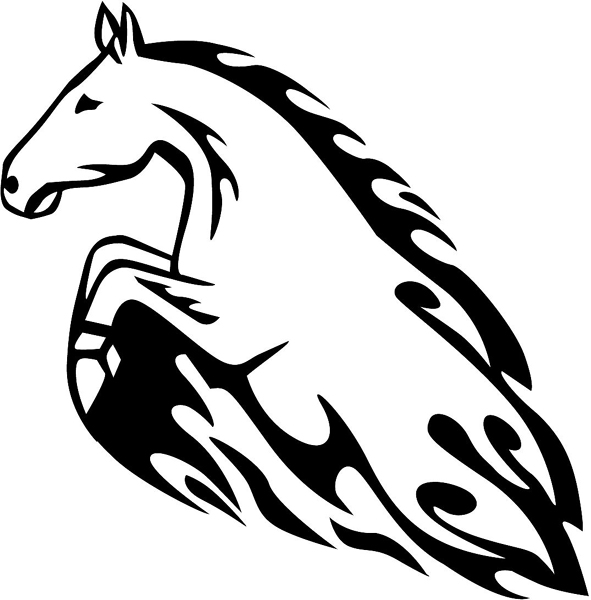 Mustang in Flames Mascot vinyl action decal. Personalize on line. animal-flames-0011b