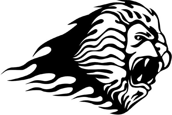 Flaming Lion Head Mascot graphic sticker. Customize on line. animal-flames-0014b