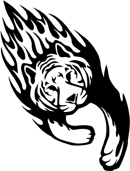 Flaming Tiger vinyl sticker. Great Mascot choice. Personalize on line. animal-flames-0015b