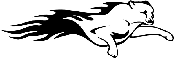Flaming Cougar Mascot vinyl sports graphic decal personalize on line. animal-flames-0018b