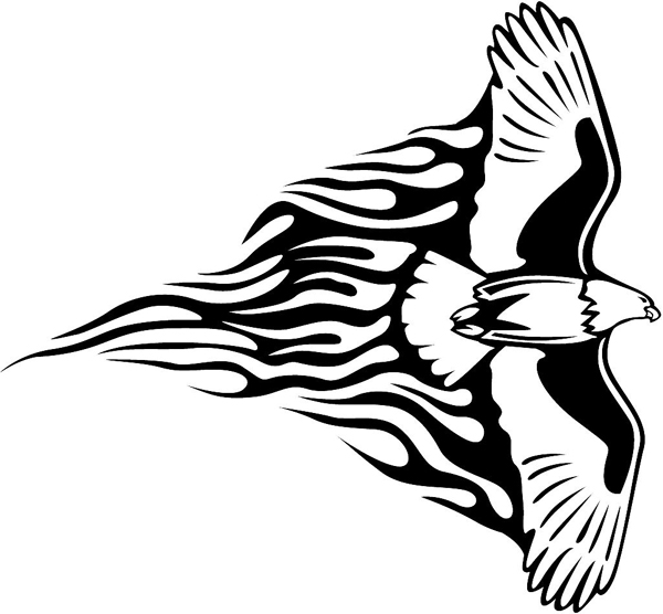 Flaming Eagle Mascot in flight vinyl graphic sticker personalized on line. animal-flames-0019b