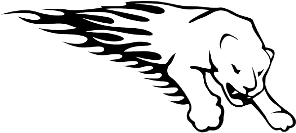Flaming Cougar Mascot vinyl sticker customized on line. animal-flames-0020b