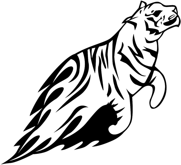 Flaming Tiger Mascot vinyl sticker. Personalize on line. animal-flames-0021b
