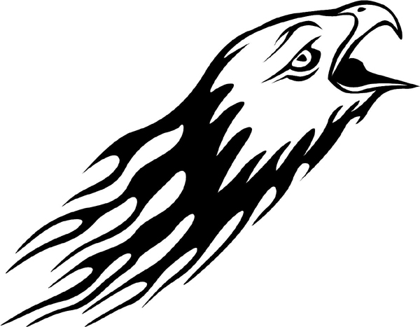 Flaming Eagle Head Mascot action graphic decal. Personalize on line. animal-flames-0023b