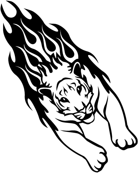Flaming Cougar Mascot vinyl graphic sticker customized on line. animal-flames-0024b