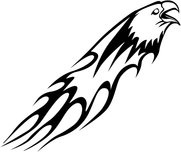 Eagle Flames vinyl sticker. Customize on line. animal-flames-0026b