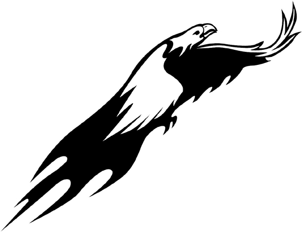 Eagle in flames vinyl sticker. A Good Mascot! Customize on line. animal-flames-0028b