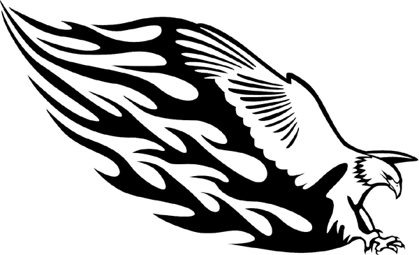 Flaming Eagle Mascot graphic vinyl decal. Personalize on line. animal-flames-0029b