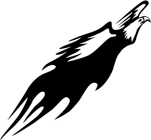 Flaming Eagle taking off vinyl sticker. Possibel Mascot! Customize on line. animal-flames-0030b