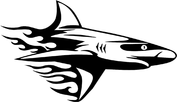 Flaming Shark Mascot vinyl graphic decal. Personalize on line. animal-flames-0031b