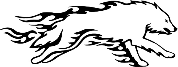 Wolf in Flames Mascot vinyl graphic sticker you can customize on line. animal-flames-0032b