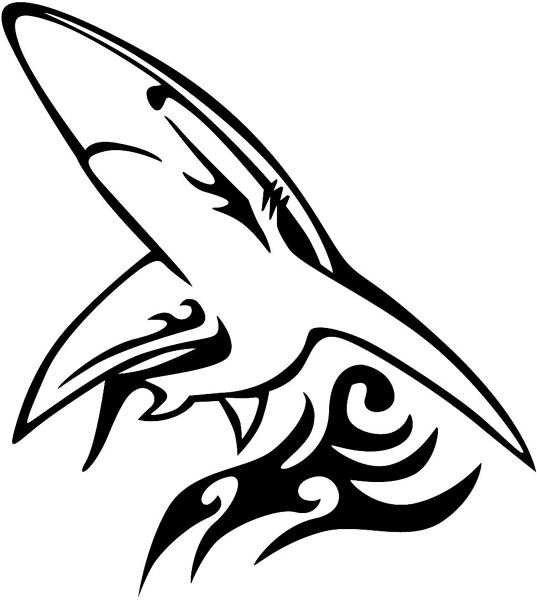 Flaming Shark Mascot vinyl sticker. Customize on line. animal-flames-0033b