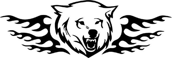Flaming Bear Head Mascot graphic sports sticker. Customize on line. animal-flames-0034b